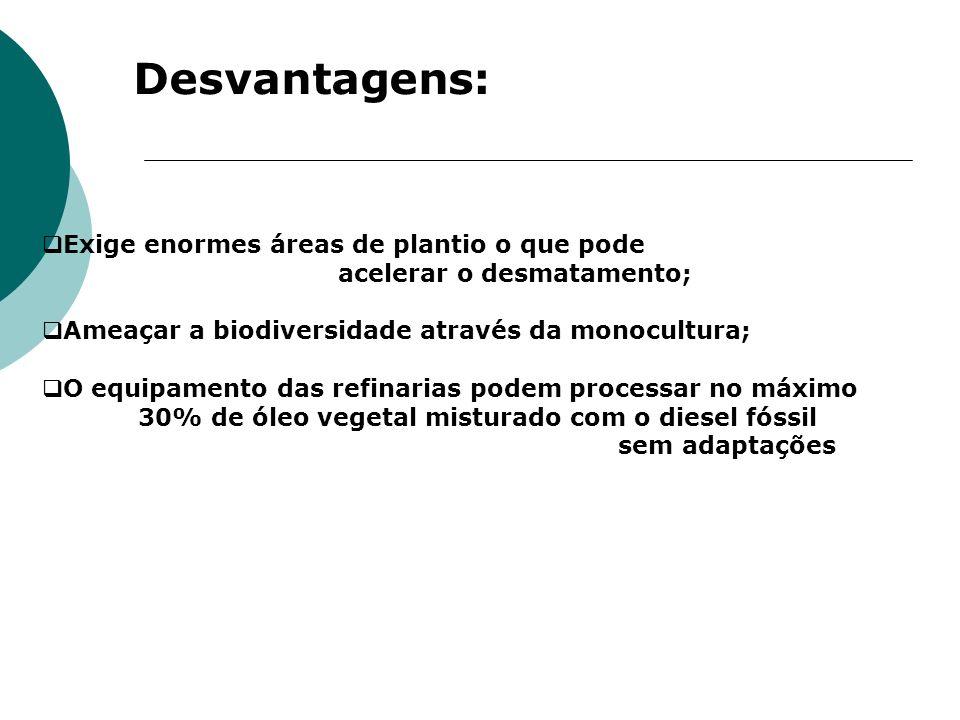 Desvantagens: Exige enormes áreas de plantio o que pode