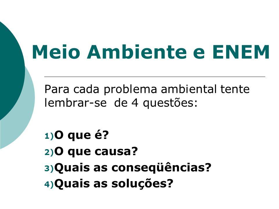 Meio Ambiente e ENEM Para cada problema ambiental tente lembrar-se de 4 questões: O que é O que causa