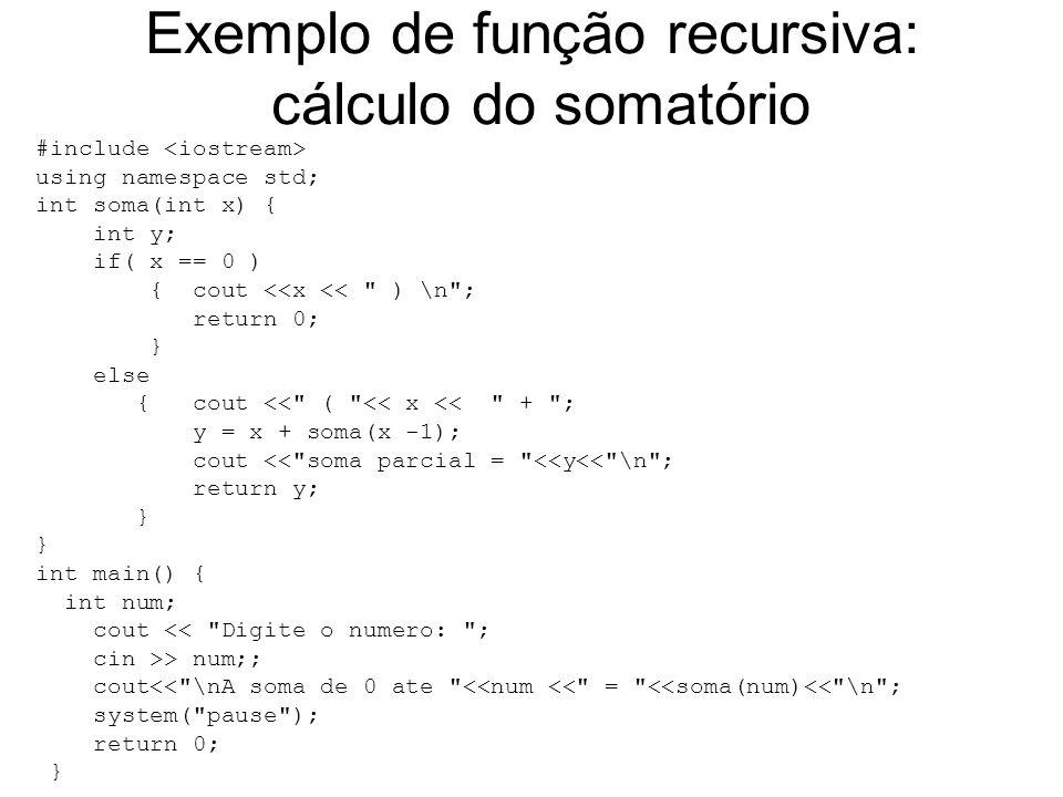 Exemplo de função recursiva: cálculo do somatório
