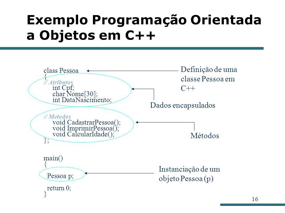Exemplo Programação Orientada a Objetos em C++