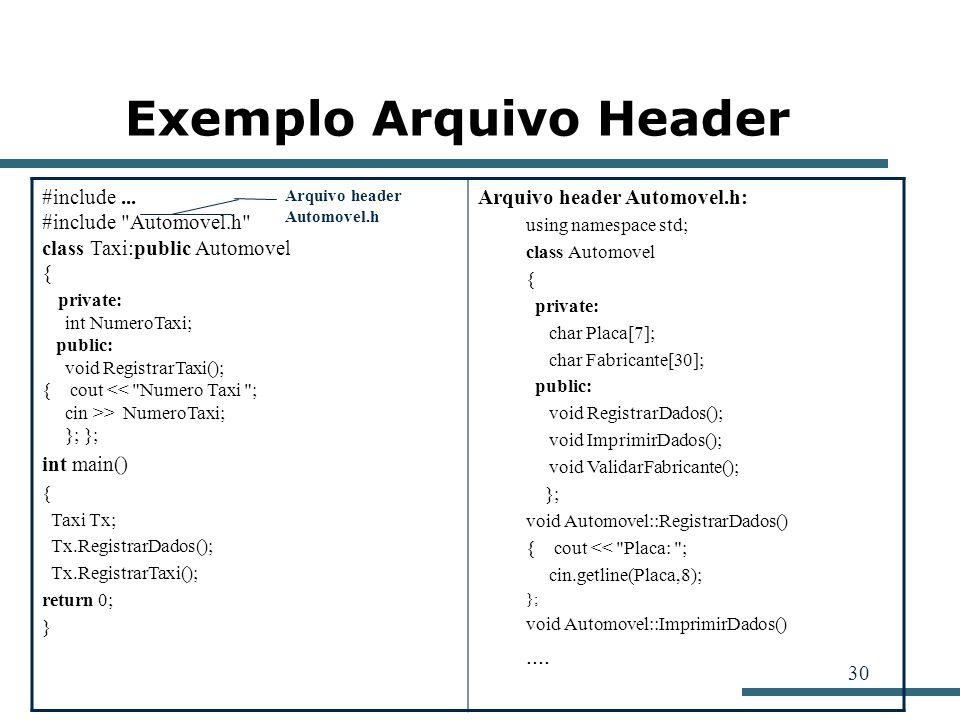 Exemplo Arquivo Header