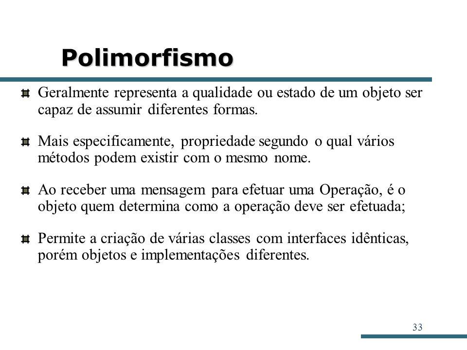 Polimorfismo Geralmente representa a qualidade ou estado de um objeto ser capaz de assumir diferentes formas.
