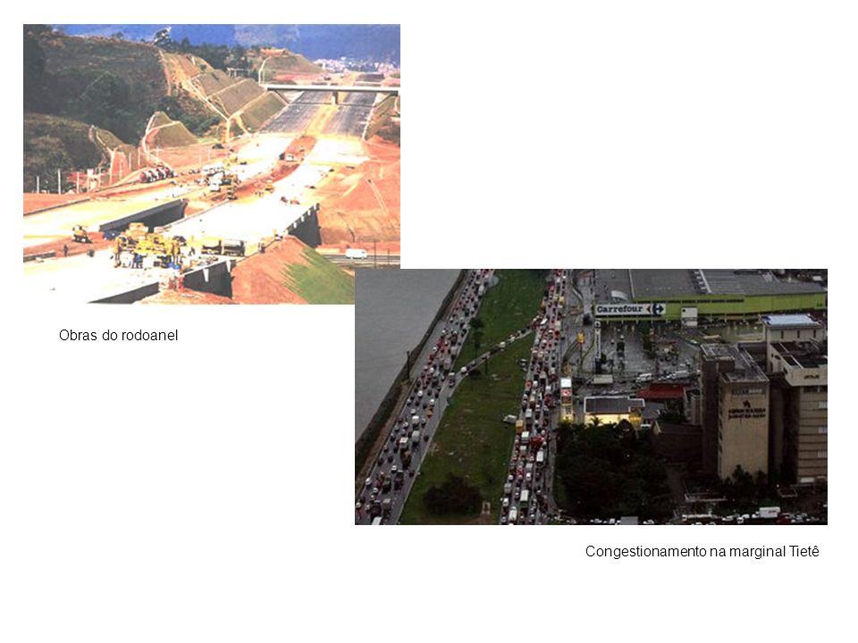 Obras do rodoanel Congestionamento na marginal Tietê