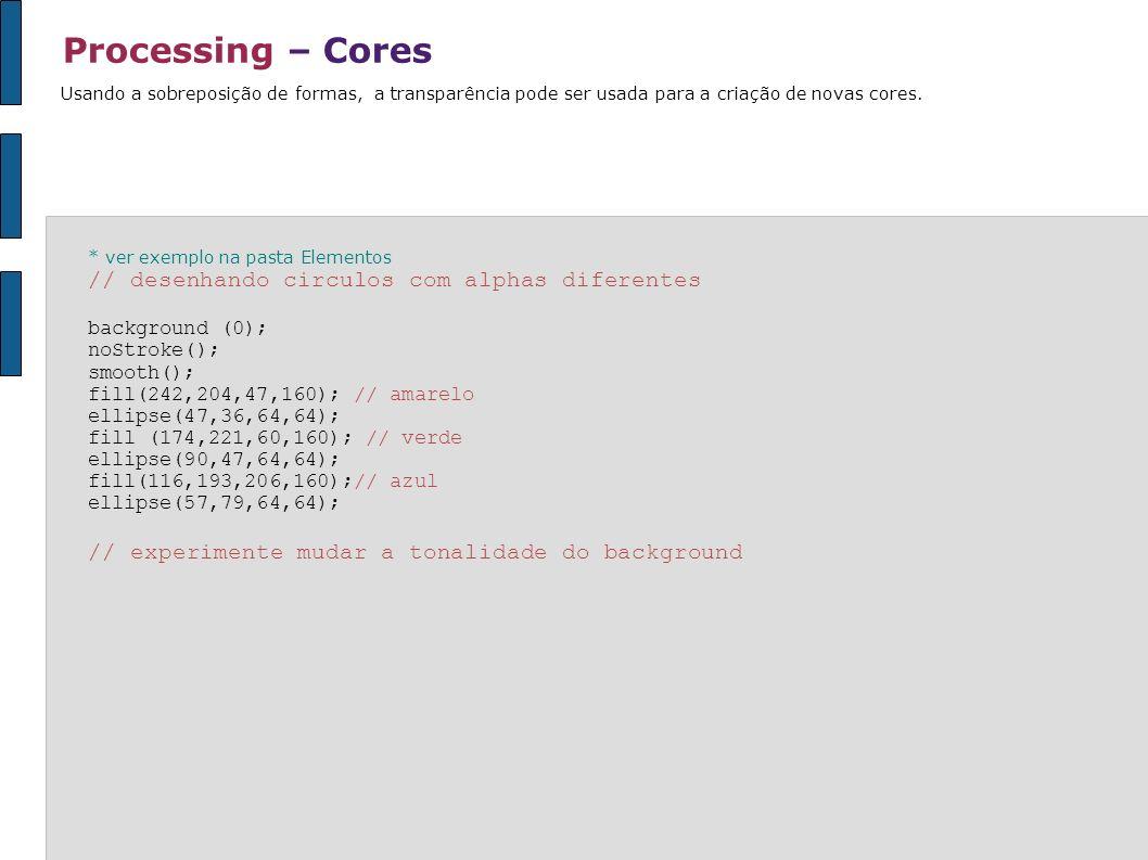 Processing – Cores // desenhando circulos com alphas diferentes
