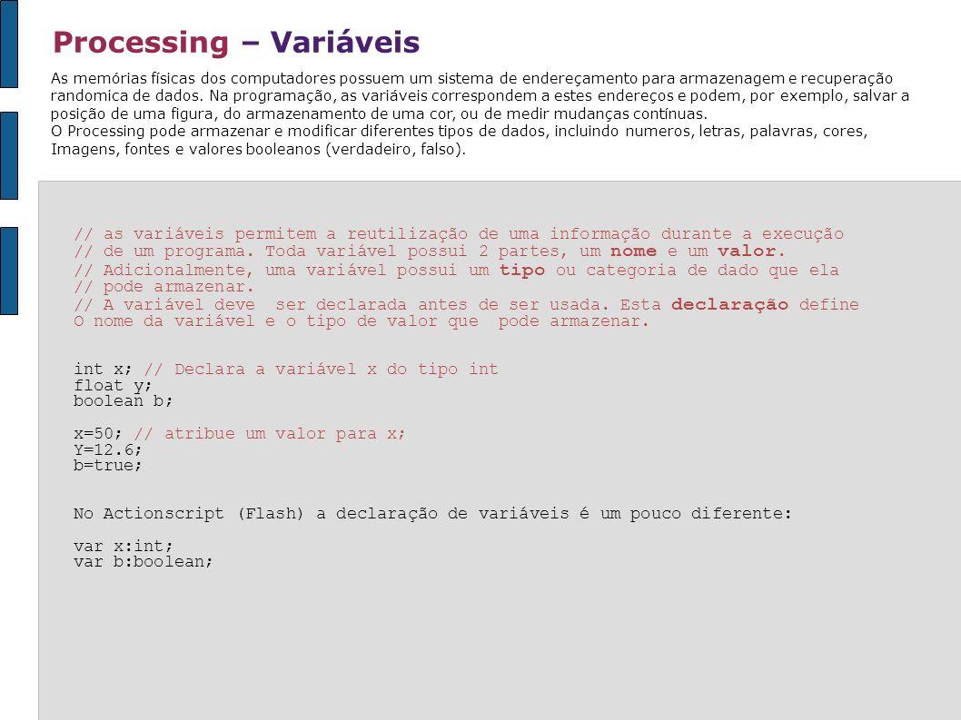 Processing – Variáveis