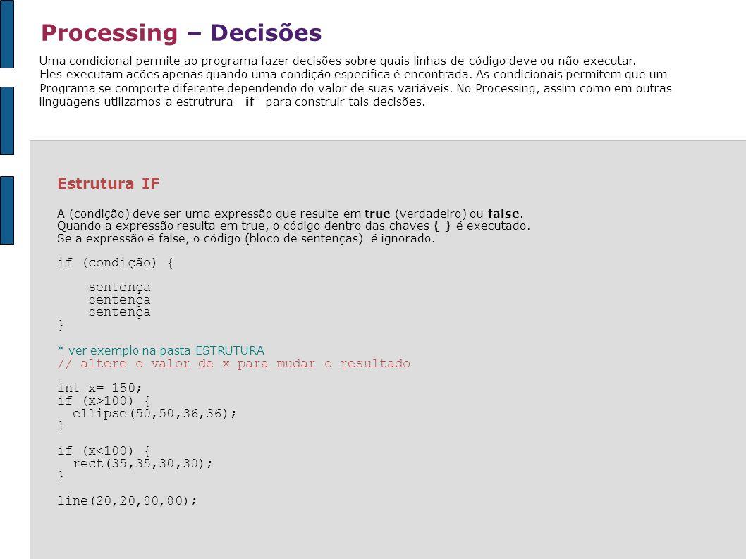 Processing – Decisões Estrutura IF if (condição) { sentença }