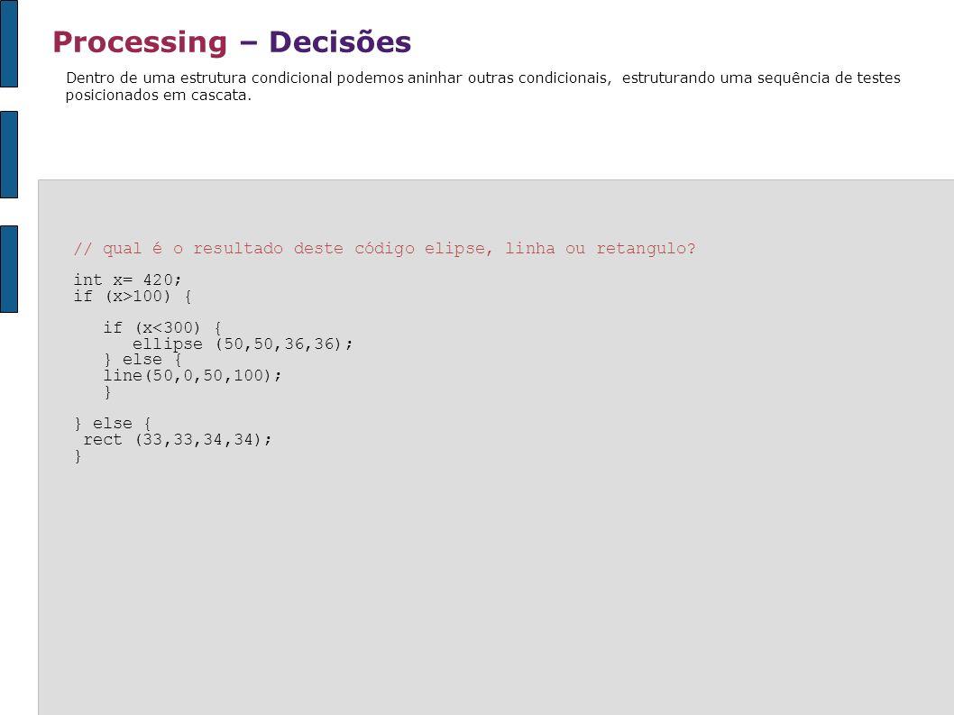 Processing – DecisõesDentro de uma estrutura condicional podemos aninhar outras condicionais, estruturando uma sequência de testes.