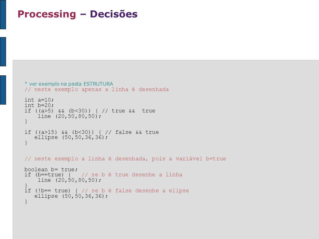 Processing – Decisões // neste exemplo apenas a linha é desenhada