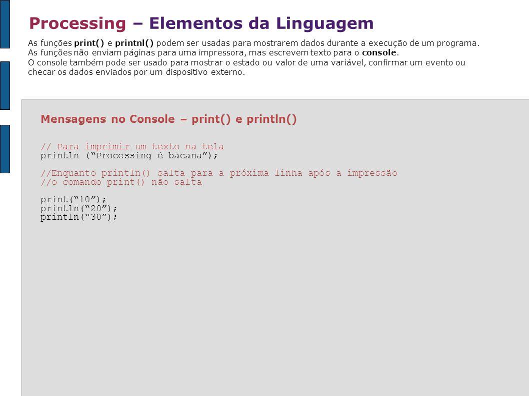 Processing – Elementos da Linguagem