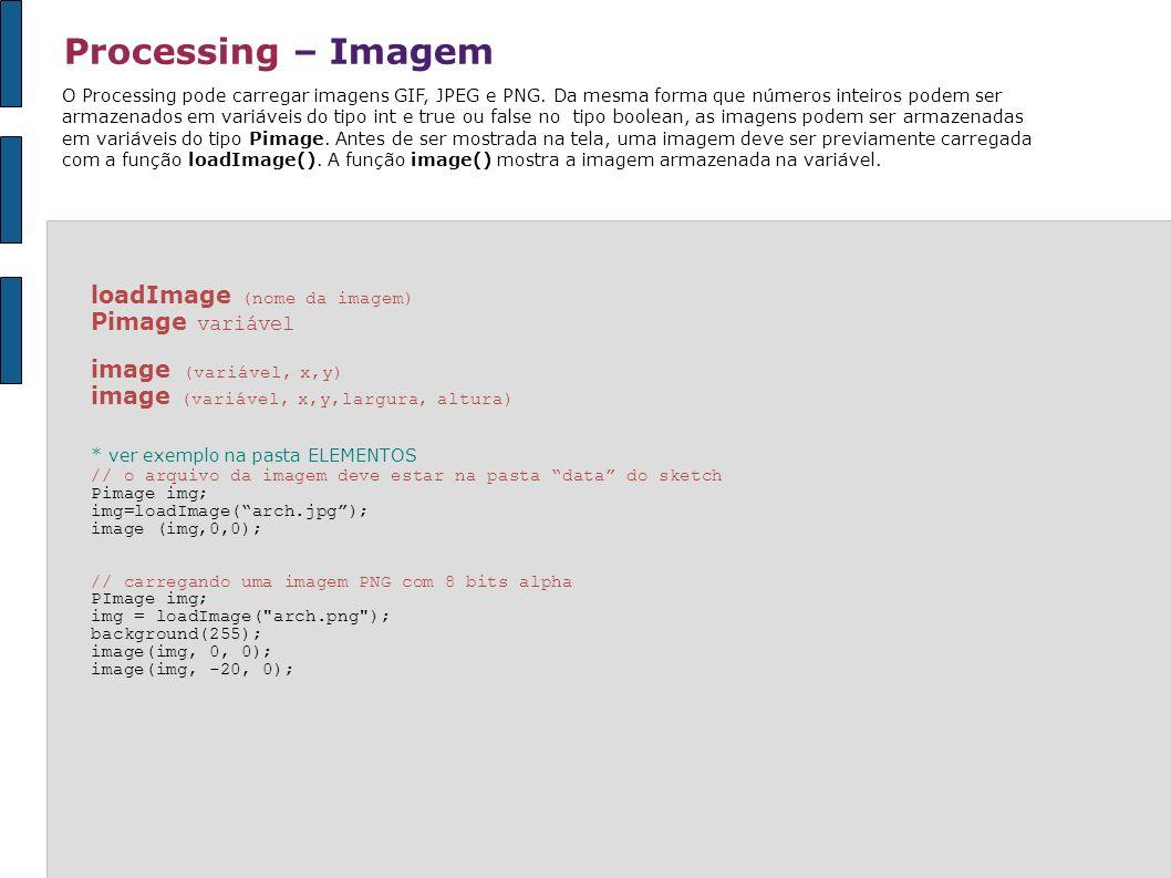 Processing – Imagem loadImage (nome da imagem) Pimage variável