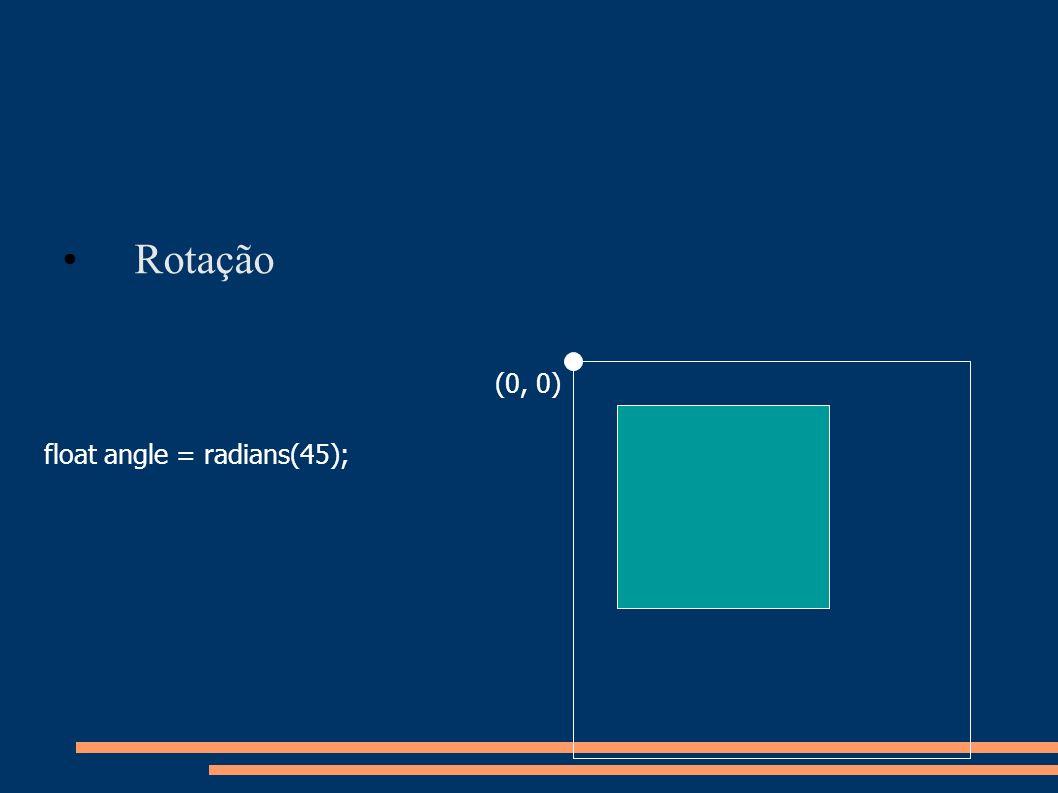 Rotação (0, 0) float angle = radians(45);