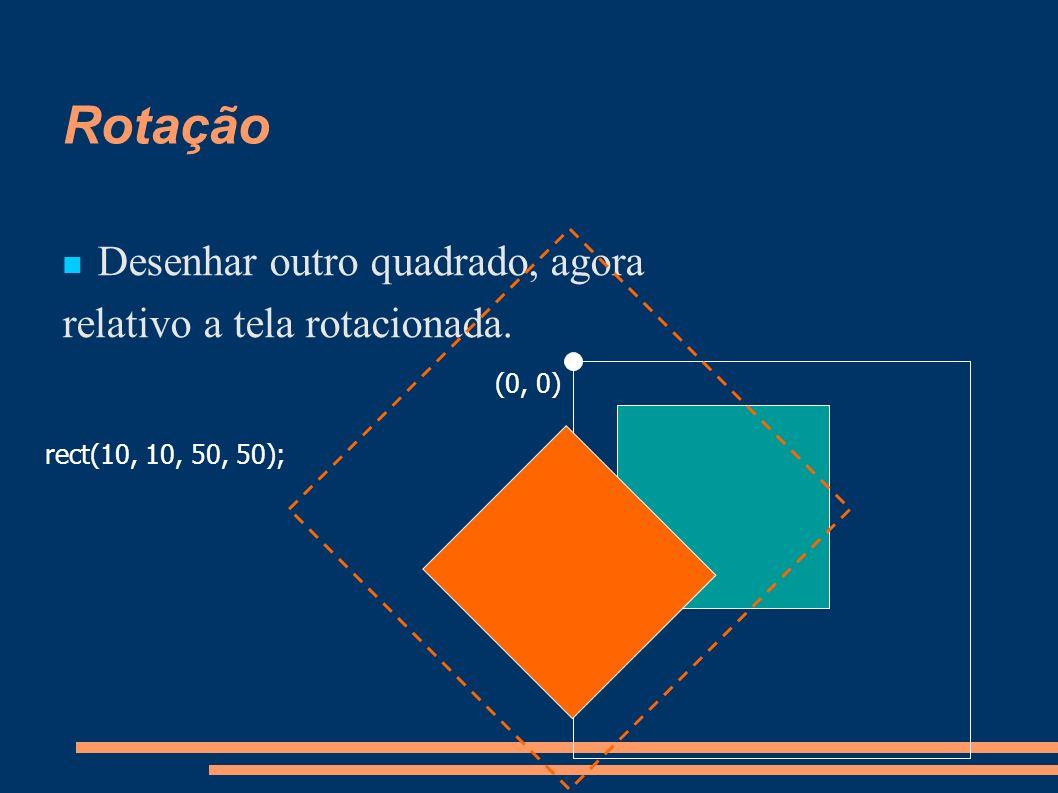Rotação Desenhar outro quadrado, agora relativo a tela rotacionada.