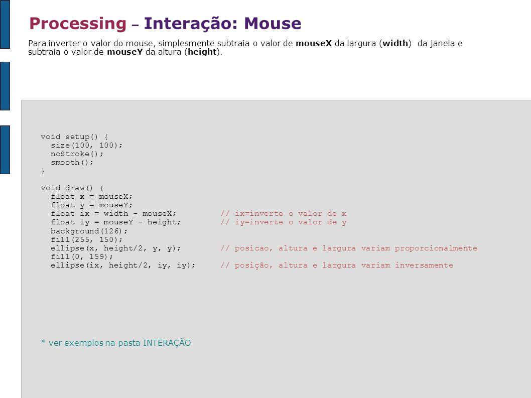 Processing – Interação: Mouse