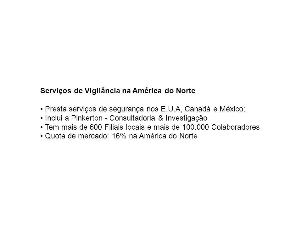 Serviços de Vigilância na América do Norte • Presta serviços de segurança nos E.U.A, Canadá e México; • Inclui a Pinkerton - Consultadoria & Investigação • Tem mais de 600 Filiais locais e mais de 100.000 Colaboradores • Quota de mercado: 16% na América do Norte