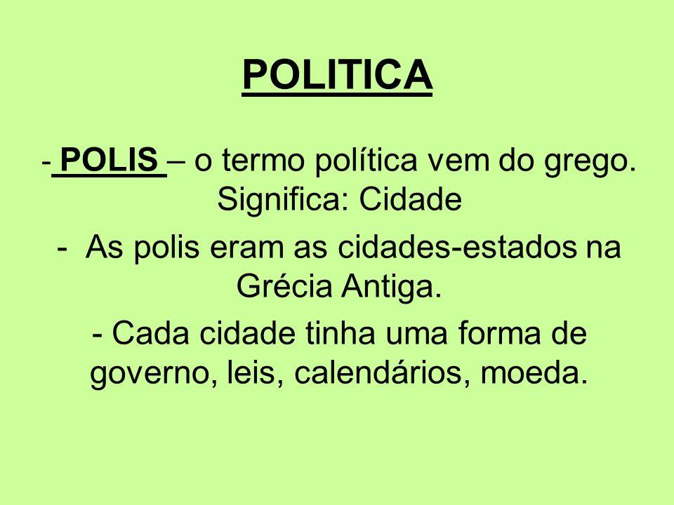 POLITICA - As polis eram as cidades-estados na Grécia Antiga.