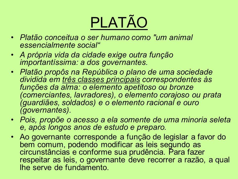 PLATÃO Platão conceitua o ser humano como um animal essencialmente social