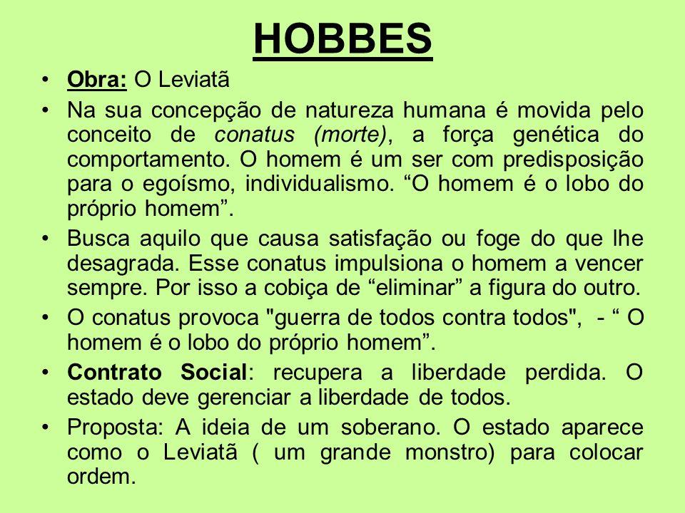 HOBBES Obra: O Leviatã.