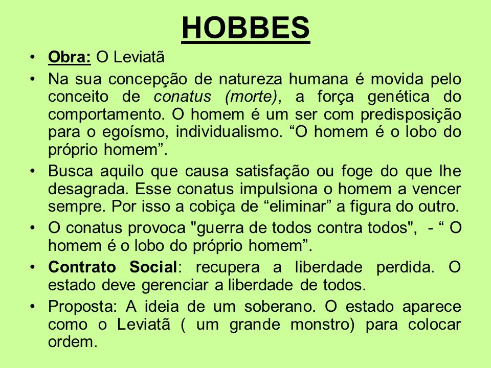 HOBBESObra: O Leviatã.