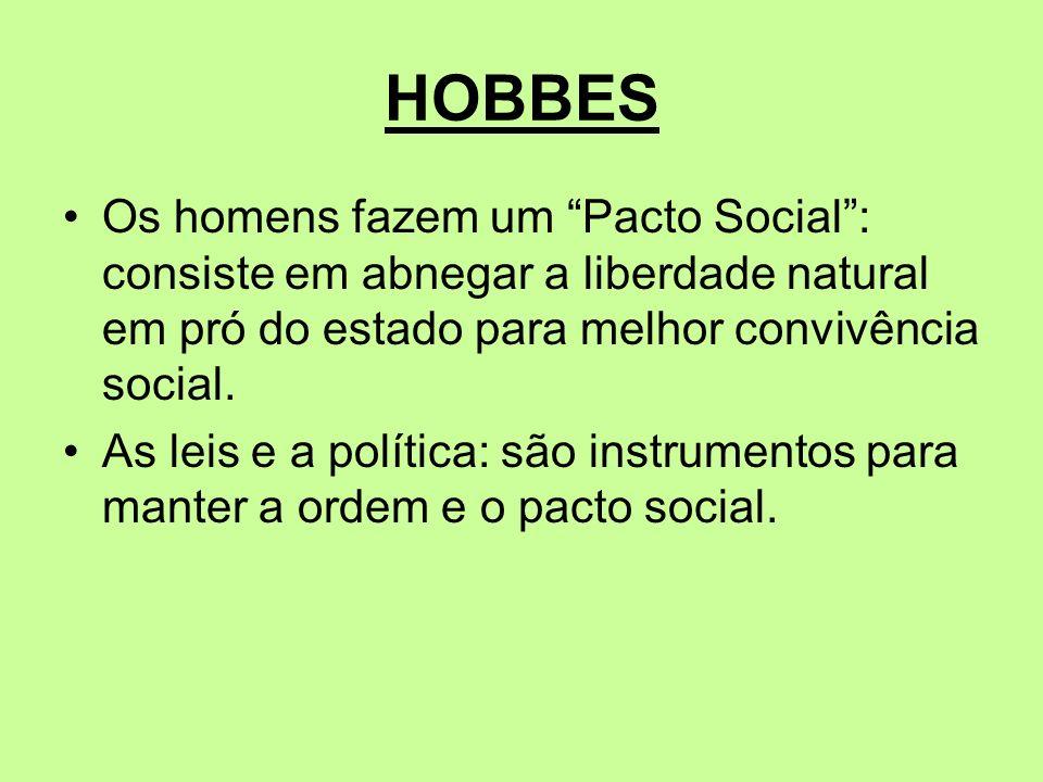 HOBBES Os homens fazem um Pacto Social : consiste em abnegar a liberdade natural em pró do estado para melhor convivência social.