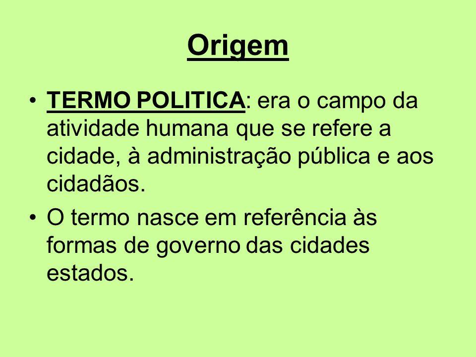 Origem TERMO POLITICA: era o campo da atividade humana que se refere a cidade, à administração pública e aos cidadãos.
