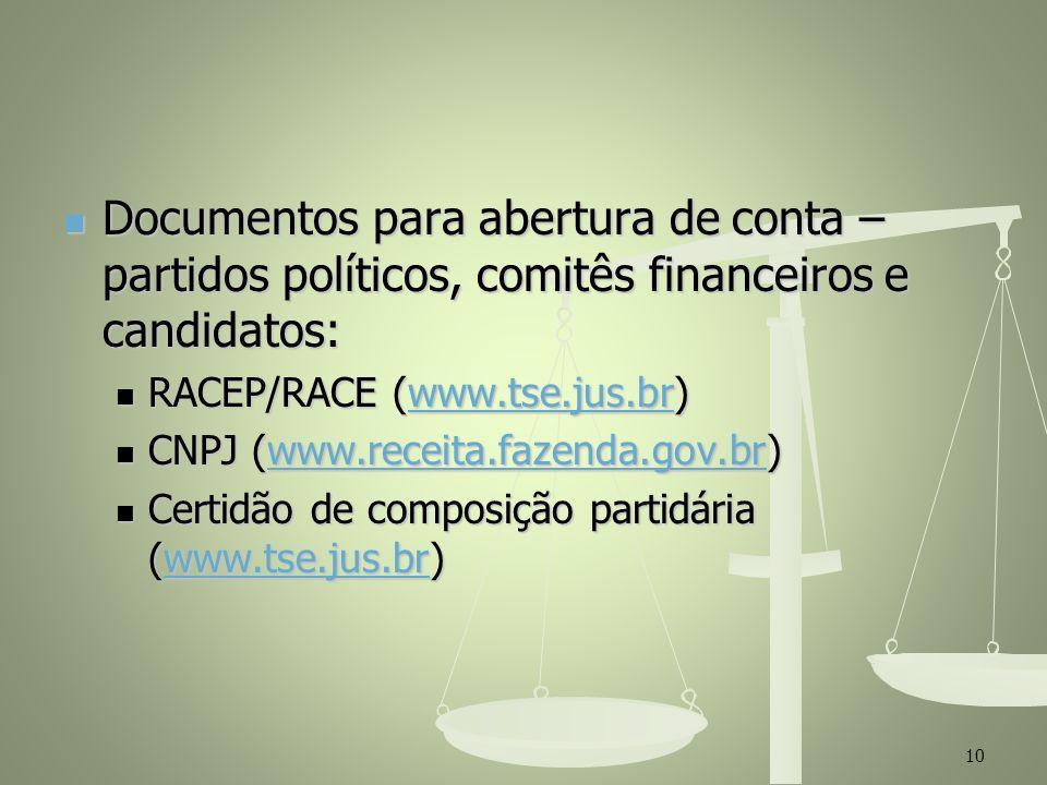 Documentos para abertura de conta – partidos políticos, comitês financeiros e candidatos:
