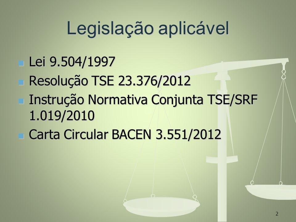 Legislação aplicável Lei 9.504/1997 Resolução TSE 23.376/2012