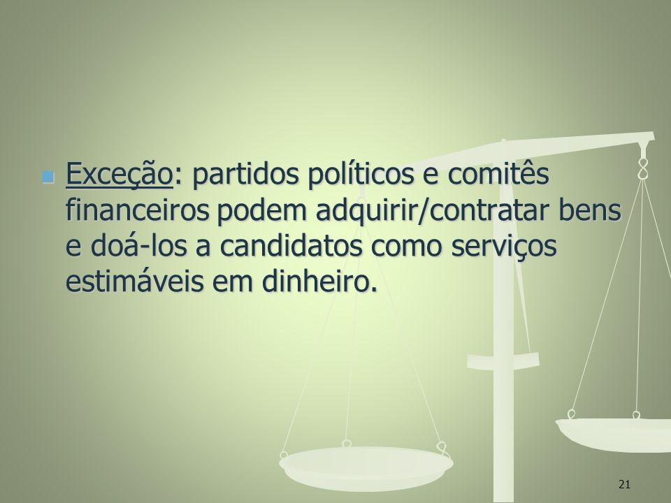 Exceção: partidos políticos e comitês financeiros podem adquirir/contratar bens e doá-los a candidatos como serviços estimáveis em dinheiro.