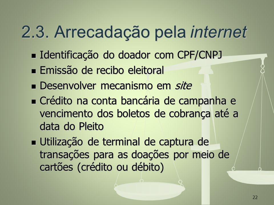 2.3. Arrecadação pela internet