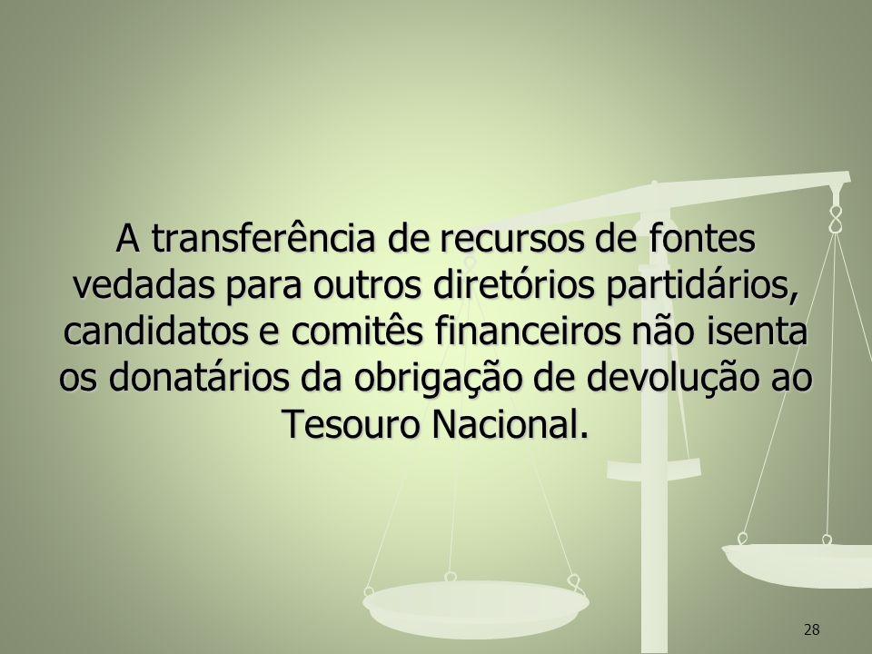 A transferência de recursos de fontes vedadas para outros diretórios partidários, candidatos e comitês financeiros não isenta os donatários da obrigação de devolução ao Tesouro Nacional.