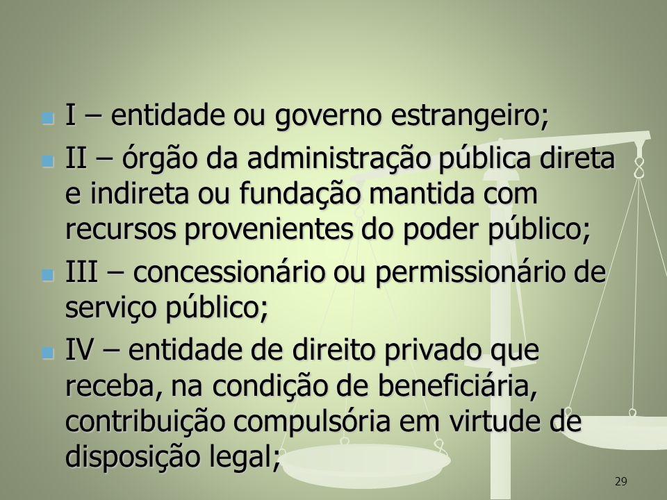 I – entidade ou governo estrangeiro;