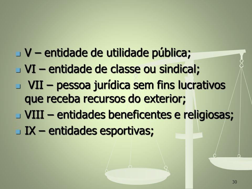 V – entidade de utilidade pública;