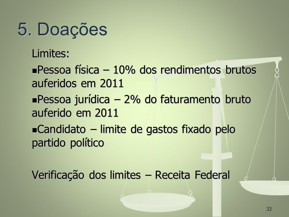 5. Doações Limites: Pessoa física – 10% dos rendimentos brutos auferidos em 2011. Pessoa jurídica – 2% do faturamento bruto auferido em 2011.