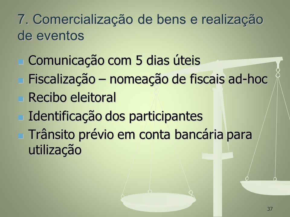 7. Comercialização de bens e realização de eventos