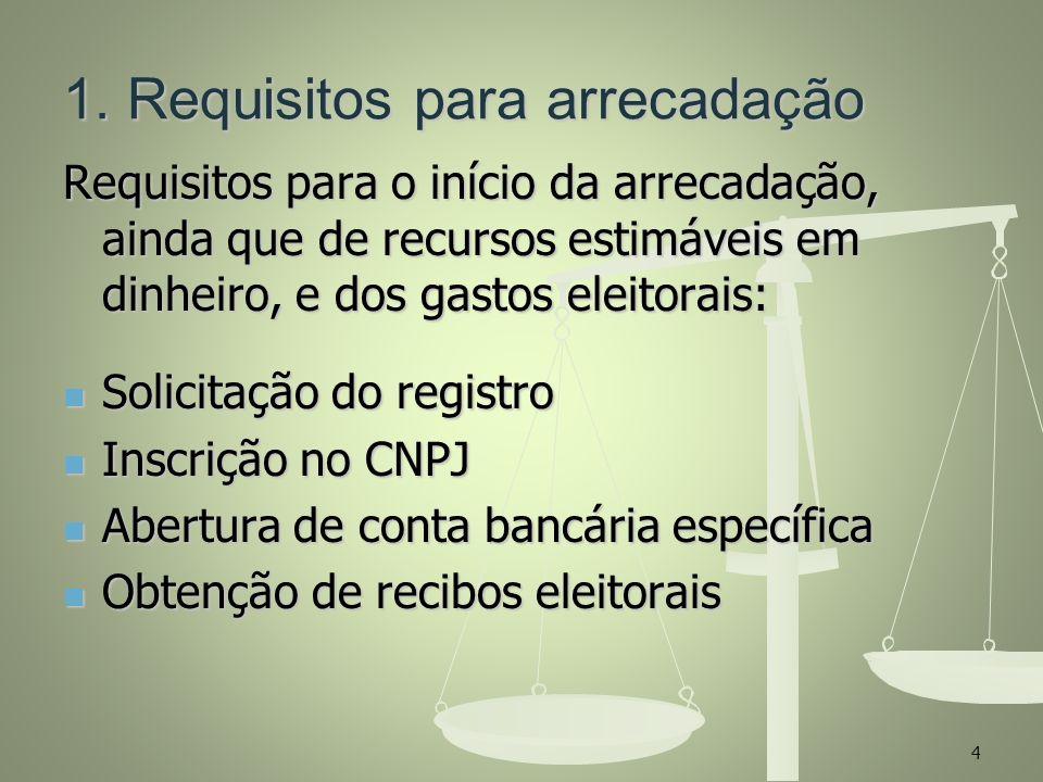 1. Requisitos para arrecadação