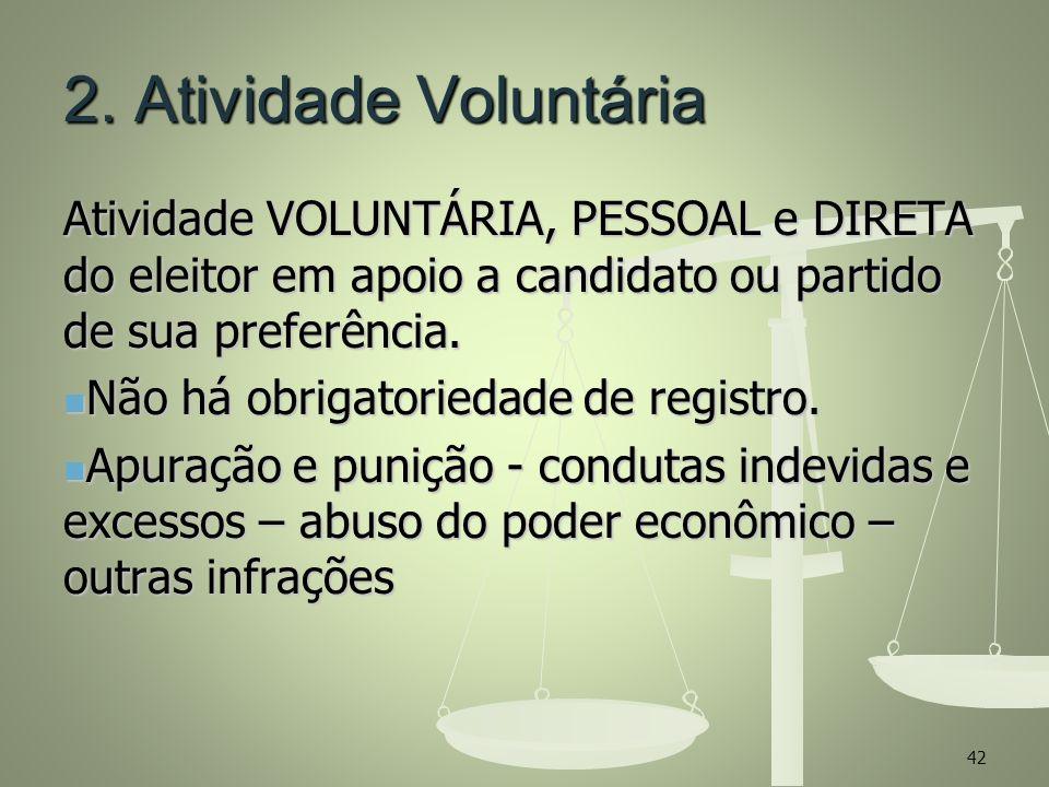 2. Atividade Voluntária Atividade VOLUNTÁRIA, PESSOAL e DIRETA do eleitor em apoio a candidato ou partido de sua preferência.