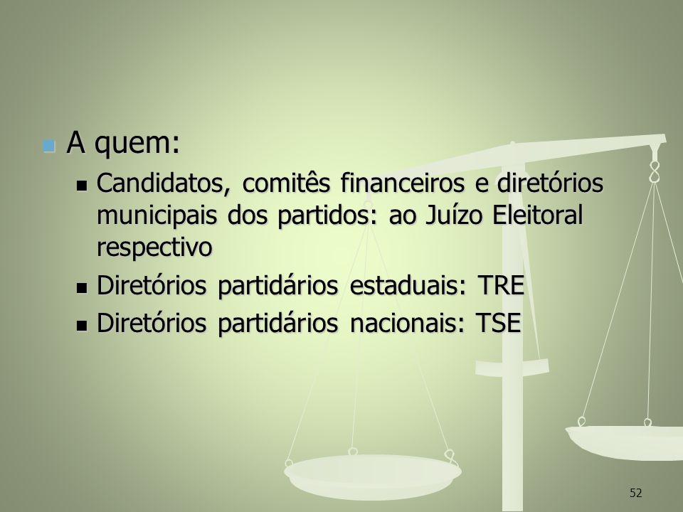 A quem:Candidatos, comitês financeiros e diretórios municipais dos partidos: ao Juízo Eleitoral respectivo.