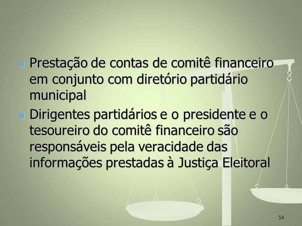 Prestação de contas de comitê financeiro em conjunto com diretório partidário municipal
