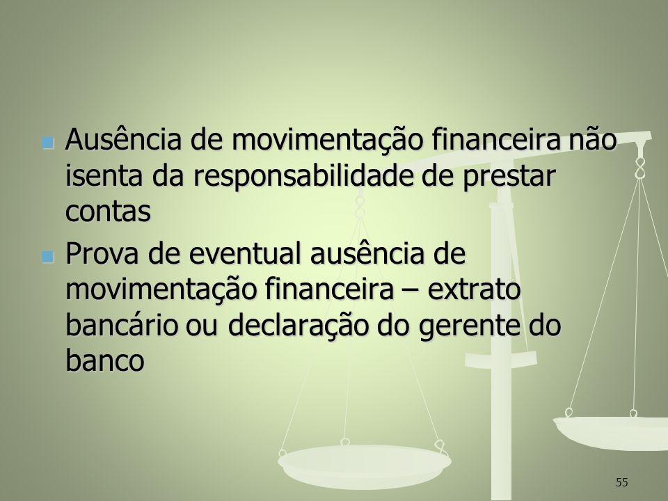 Ausência de movimentação financeira não isenta da responsabilidade de prestar contas