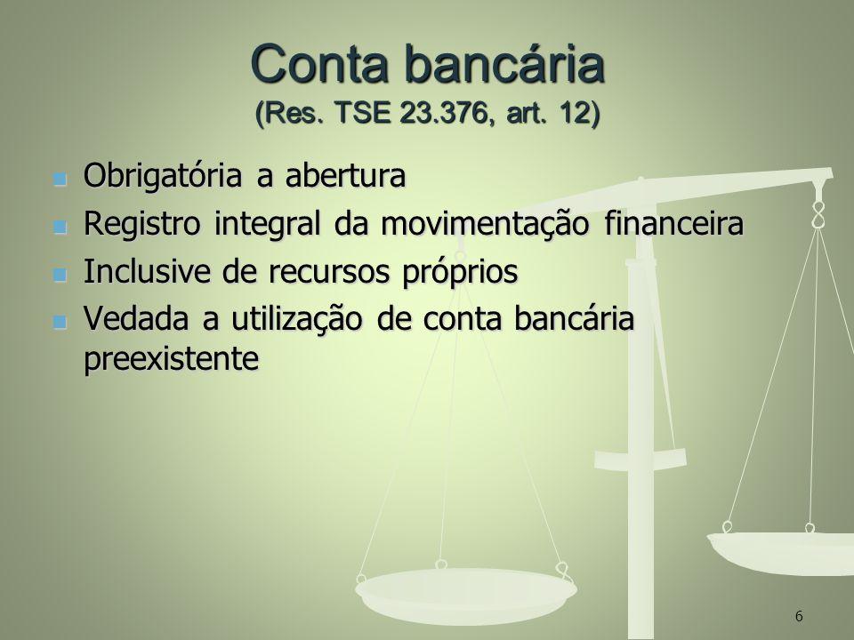 Conta bancária (Res. TSE 23.376, art. 12)