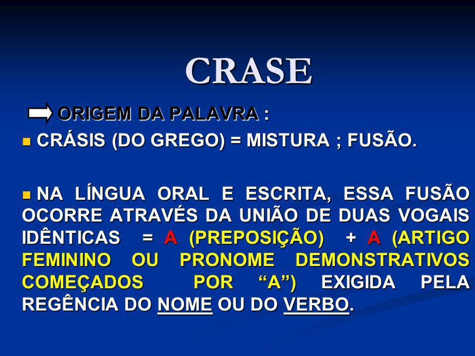CRASE ORIGEM DA PALAVRA : CRÁSIS (DO GREGO) = MISTURA ; FUSÃO.