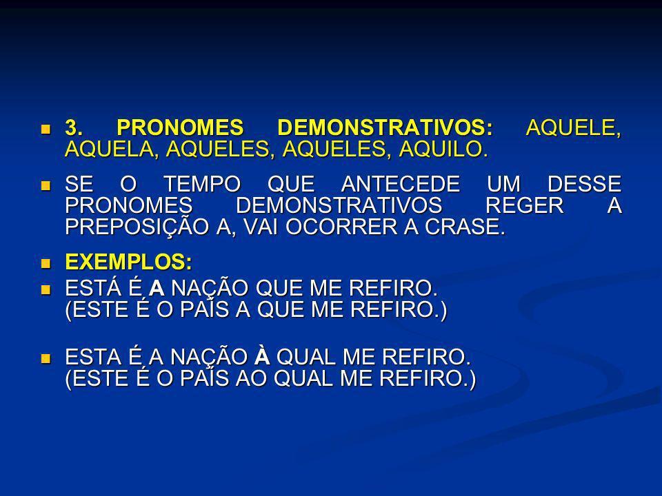 3. PRONOMES DEMONSTRATIVOS: AQUELE, AQUELA, AQUELES, AQUELES, AQUILO.