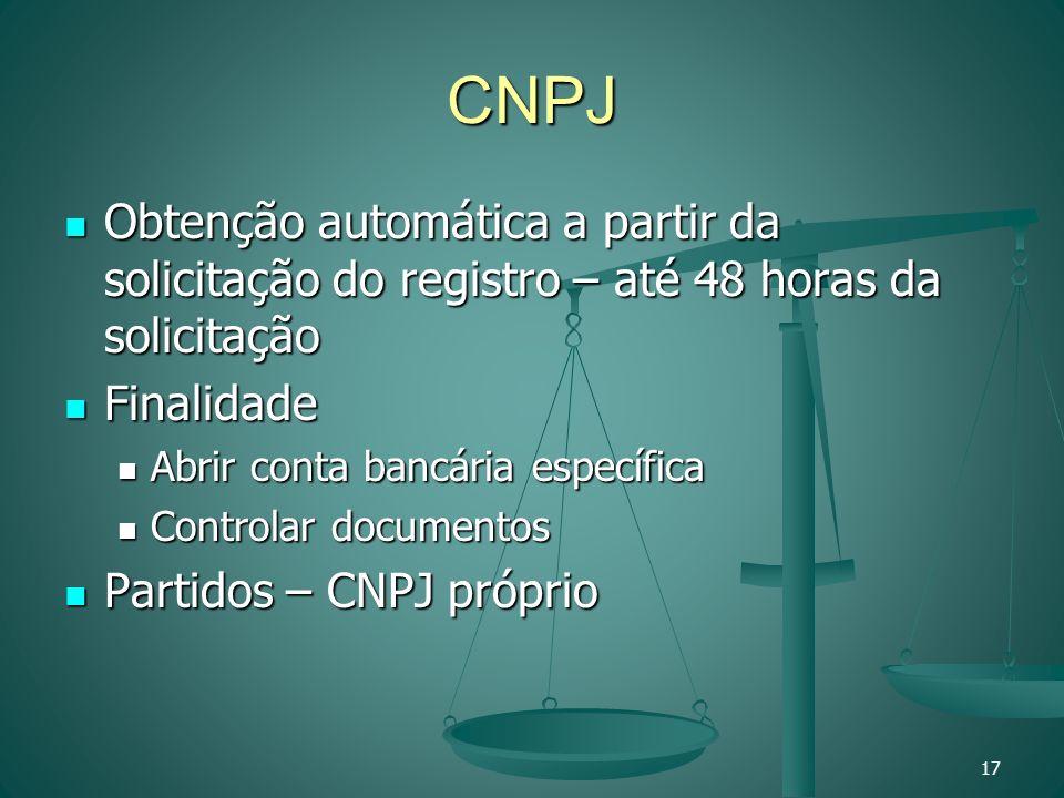 CNPJ Obtenção automática a partir da solicitação do registro – até 48 horas da solicitação. Finalidade.