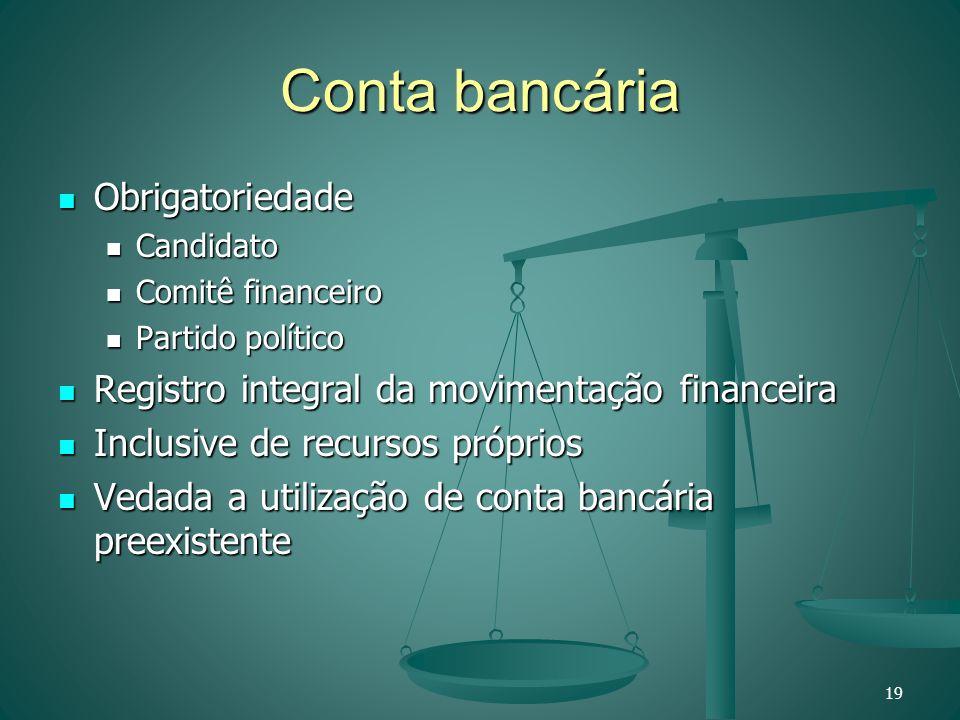 Conta bancária Obrigatoriedade