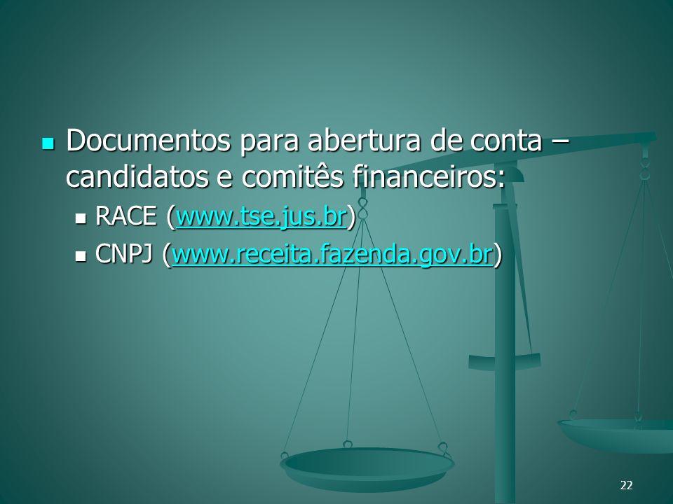Documentos para abertura de conta – candidatos e comitês financeiros:
