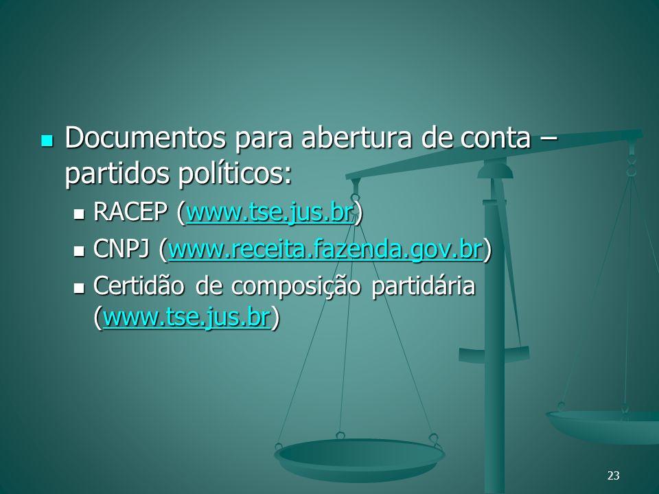 Documentos para abertura de conta – partidos políticos: