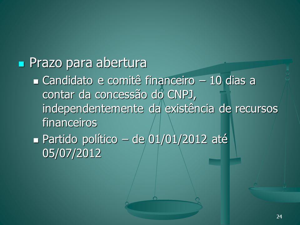 Prazo para abertura Candidato e comitê financeiro – 10 dias a contar da concessão do CNPJ, independentemente da existência de recursos financeiros.