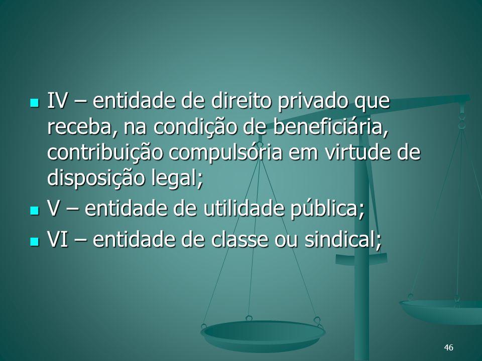 IV – entidade de direito privado que receba, na condição de beneficiária, contribuição compulsória em virtude de disposição legal;