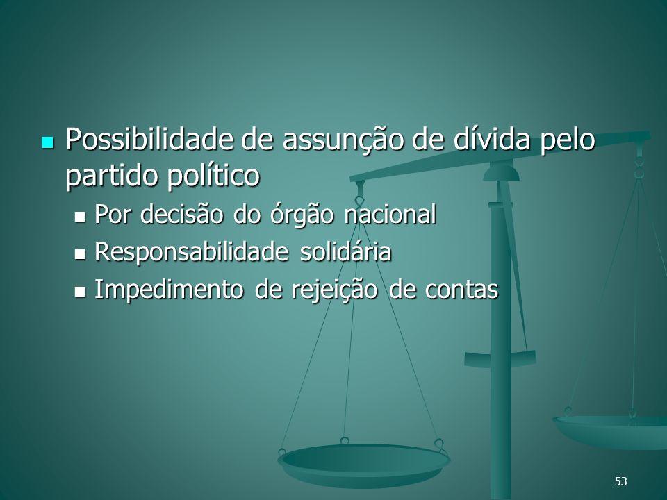 Possibilidade de assunção de dívida pelo partido político