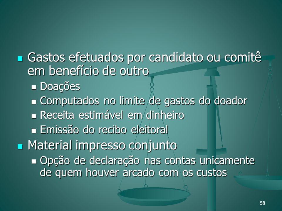 Gastos efetuados por candidato ou comitê em benefício de outro