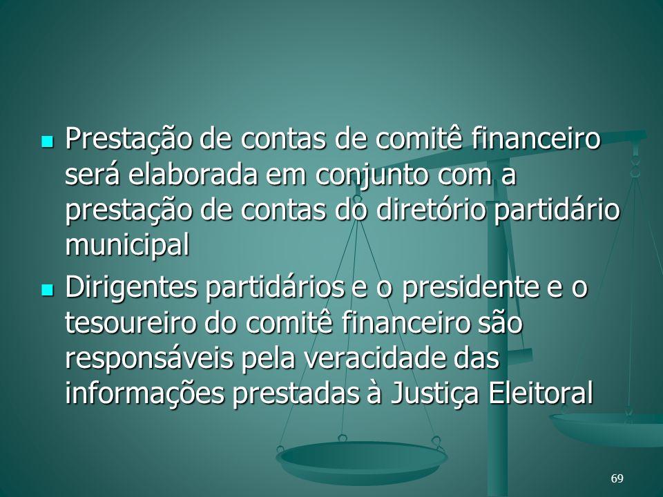 Prestação de contas de comitê financeiro será elaborada em conjunto com a prestação de contas do diretório partidário municipal